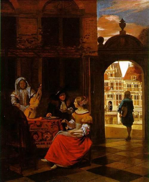 Fête musicale dans une cour (1677), de Pieter de Hooch (National Gallery, Londres)